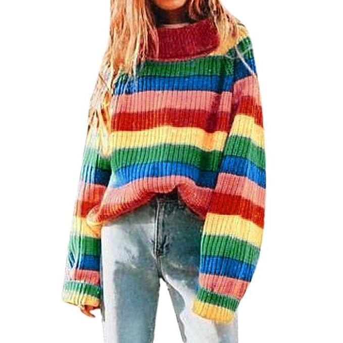 af450c09ac454 Women Rainbow Stripe Long Sleeve Turtleneck Knitted Sweater Blouse ...