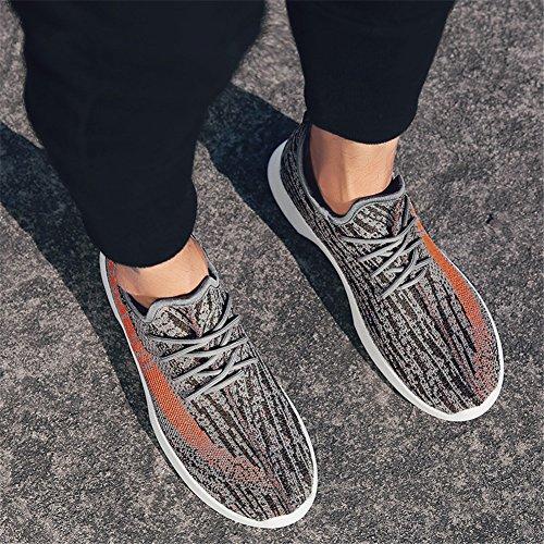 MMM Chaussures Hommes Chaussures Tulle Printemps Automne Light Semelles Sneakers Lace-Up Pour Athlétique Décontracté Chaussures de Course en Plein Air Noir Orange Noir Blanc A 2yMeI00