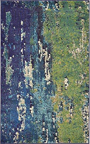 (Unique Loom Estrella Collection Vibrant Abstract Navy Blue Area Rug (3' 3 x 5' 3))