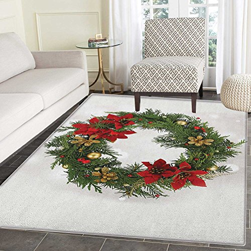 Christmas Area Silky Smooth Rugs Floral Wreath Cultural Design Poinsettia Blossoms Holly Pine Cone Branches Floor Mat Pattern 2'x3' Green Red Gold