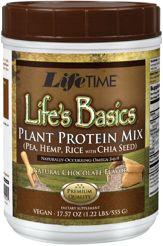 Lifetime Lifes Basics Plant Based Protein Powder | Natural Chocolate, Vegan | No Gluten, Artificial Flavors, or Preservatives | 1.22lb