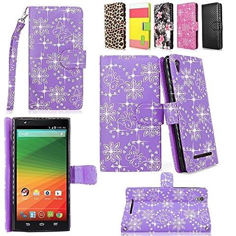 ZTE ZMAX - Cellularvilla Pu Leather Wallet Card Flip Open Pocket Case Cover Pouch For ZTE ZMAX Z970 (T-Mobile) (Purple (Zte Zmax Phone Case Z970)
