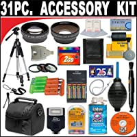 31 PC ULTIMATE SUPER SAVINGS DELUXE DB ROTH ACCESSORY KIT, INCLUDES FLASH, LENSES, FILTERS, ACCESSORIES AND MUCH MORE! FOR THE CANON POWERSHOT A10, A20 DIGITAL CAMERAS + BONUS Gift = Waterproof Camera = Great For Kids