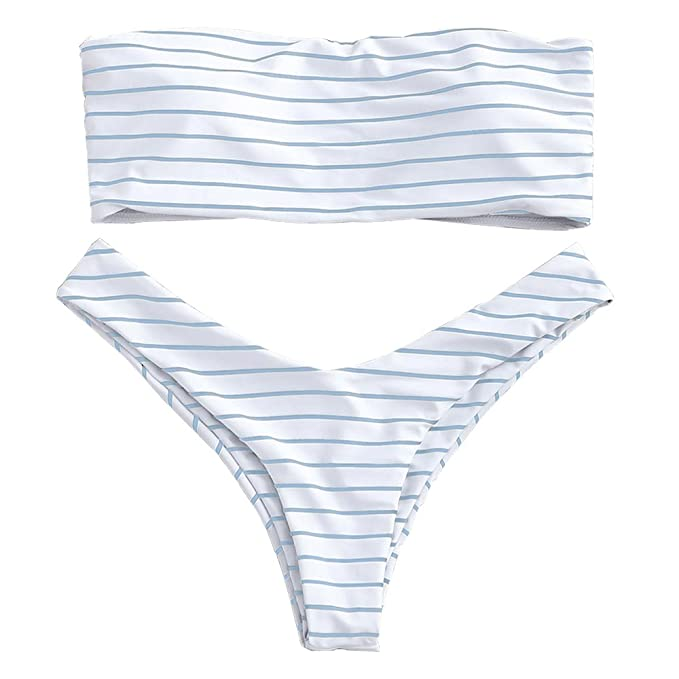a5d8fa5547f ZAFUL Women's Cute Strapless Swimsuits Stripe Padded Bandeau Bikini Set ( Light Blue S)