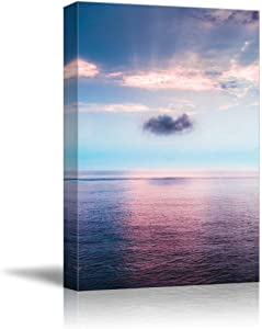 NWT Canvas Wall Art Purple Sunset Flow Ocean Water Painting Artwork for Home Prints Framed - 16x24 inches