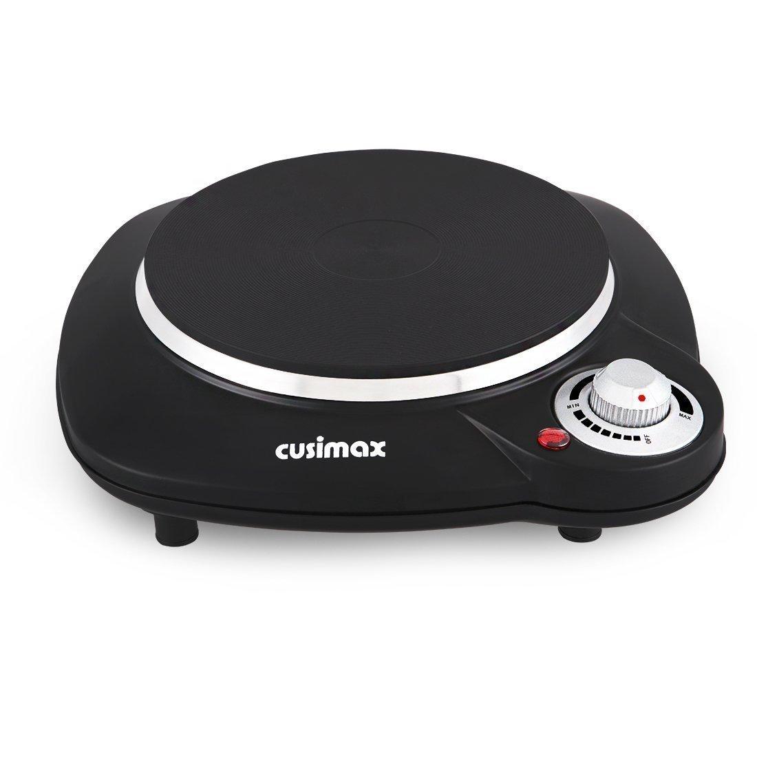 Cusimax 1000W Placa de cocina individual eléctrica con termostato regulable de temperatura, CMHP-B112, color negro: Amazon.es: Hogar