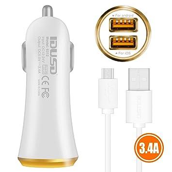 IDUSD Cargador Mechero Micro USB 2 Puertas 3.4A Compatible ...
