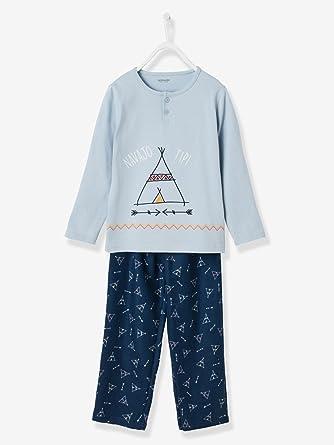 Vertbaudet Jungenschlafanzug Mit Tipi Motiv Mittelblau Einfärbig Mit