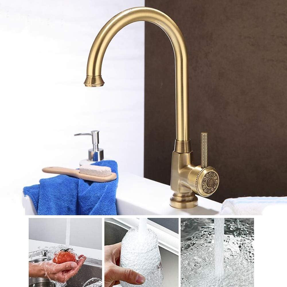MuMa Robinet Bronze Laiton 360 Degr/és Rotation M/élangeur Chaleur Mitigeur Installation Facile Cuisine Lavabo Salle De Bains Couleur : Bronze