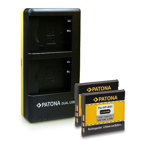 PATONA Dual Cargador con micro USB + 2x Batería NP-BN1 para Sony Cyber-shot DSC-J10 QX10 QX100 QX30 T110 T99 TF1 TX10 TX100V TX20 TX30 TX5 TX55 TX66 ...