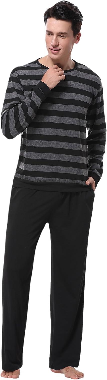 Aibrou Pijama Hombre Invierno de Algod/ón Mangas Larga Pantalones Largo 2 Piezas a Raya