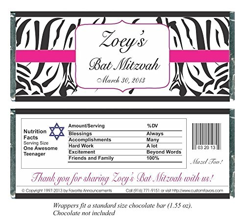 - Zebra Print Bat Mitzvah Candy Bar Wrappers, Personalized (set of 12)(W694/K120)