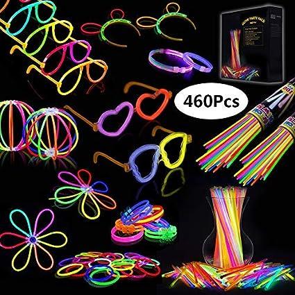 805488d94f04 Josechan Pulseras Luminosas 200pcs de Fiesta 20cm 7 colores con Conectores  para Hacer Glow Sticks Pulseras, Collares, kits para Crear Gafas Perfecto  ...