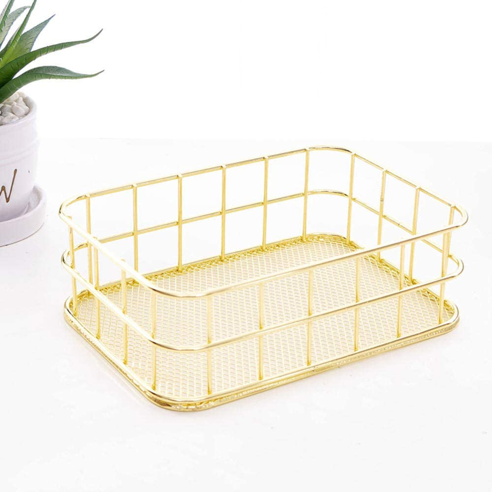 Generic Brands Office Organizer Rose Gold Wire Storage Baskets Rust Proof Steel,for Cosmetics,Jewelry,Stationery,Book Magazine,Medicine