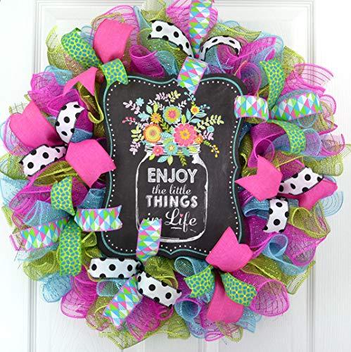 Spring Flower Wreath | Enjoy the Little Things Deco Mesh Door Wreath | Turquoise Pink Black Green