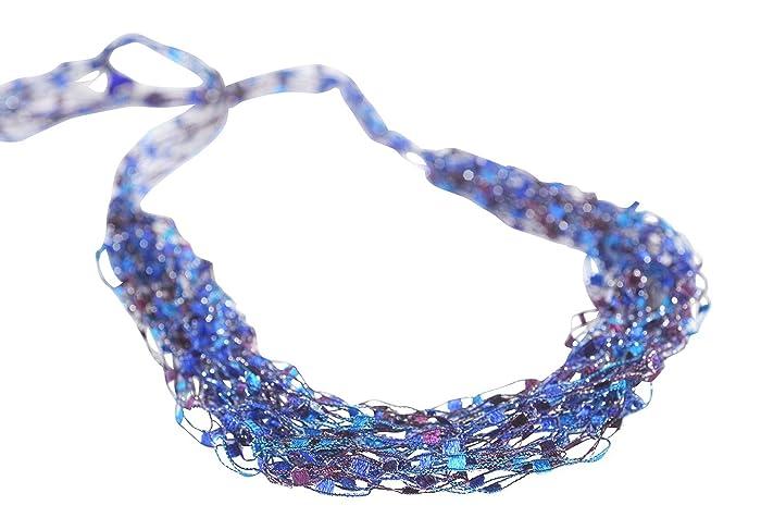 Light Bright Colors Crochet Necklace  SHEER BLISS Elegant Bead Crochet Rope Pink Silver Grey Purple Neon Yellow
