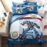 CASA 100% Cotton Kids Bedding Set Boys Optimus Prime Duvet cover and Pillow cases and Fitted Sheet,4 Pieces,Queen