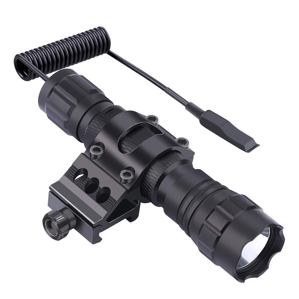 Feyachi FL11-MB Tactical Flashlight 1200 Lumen Matte Black LED Weapon Light with Picatinny Mount, Rechargeable Batteries and Pressure Switch Included by Feyachi