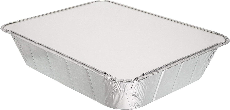 cocinar y almacenar alimentos y m/ás. Paquete de 5 sartenes desechables de aluminio con tapas de aluminio ~ 32 x 26 cm ~ Ideal para hornear asar