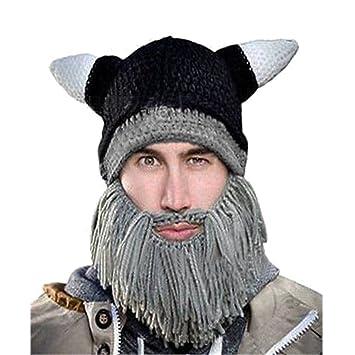 9ae394b3a7a Chnli Halloween Decor Funny Handmade Crochet Cartoon Viking Horn Hat Men  Bearded Face Knitted Mask Party