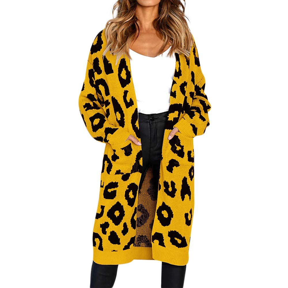 Connia Hot!Womens Leopard Cardigan, Christmas Fall Winter Fashion Knitted Pockets Long Maxi Sweater Casual Coat at Amazon Womens Clothing store: