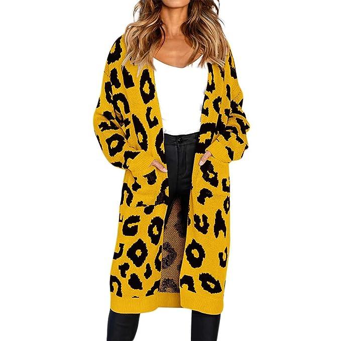 Cárdigan Largo para Mujer,Mujeres Moda Punto Leopardo impresión ...