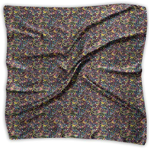 Background Necktie Black (Bandana Head and Neck Tie Neckerchief,Sixties Inspirations With Colorful Dots And Swirls On A Black Background,Headband)