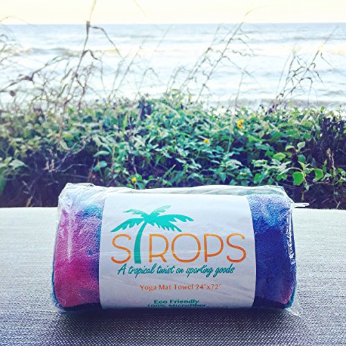 STROPS Yoga Mat Towel, Tie Dye Towel for Bikram/Hot Yoga, Yoga and Pilates, Paddle Board Yoga, Sports, Exercise, Fitness Towel, also Use as Beach Towel, Concert Towel, Multi Purpose Use Yoga Towel