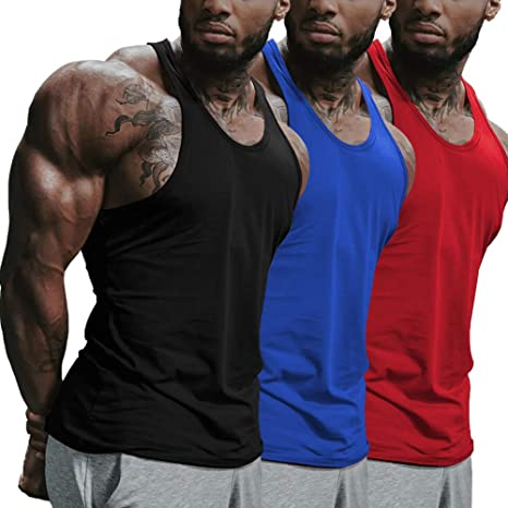 SZKANI 3 Packs Mens Sleeveless Hoodie Stringers Bodybuilding Tank Tops Workout Muscle Shirt Fitness Vest