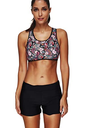geringster Preis Angebot wähle das Neueste Labelar Damen Sport Bikini Set mit Shorts Zweiteiler ...