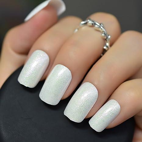 EchiQ - uñas postizas de color blanco con purpurina y brillantes, diseño de uñas postizas
