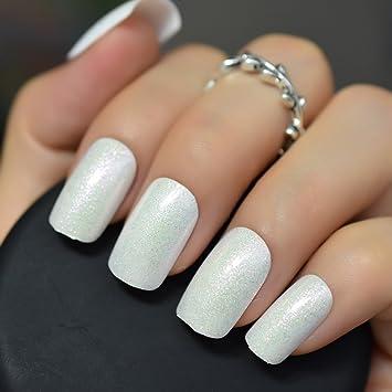 Echiq Blanc perle Faux ongles Shimmer Paillettes Faux ongles Full Cover Gel  UV Motif de Réactivité