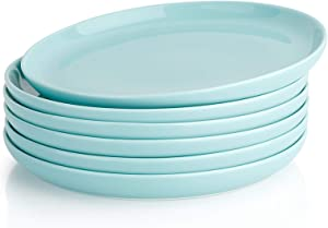 Sweese 155.602 Porcelain Round Dessert Salad Plates - 7.4 Inch - Set of 6, Turquoise