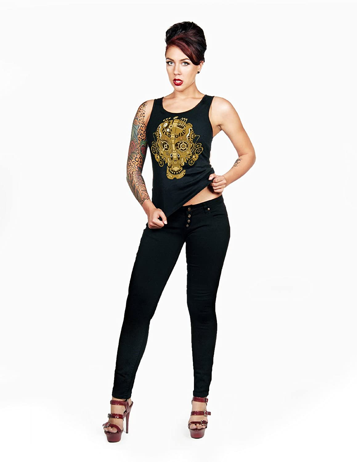 Folter FULL BACK CORSET BEATER WOMENS TANK (S, Steampunk Skull)