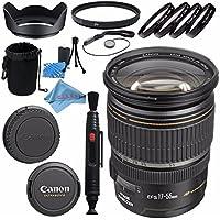 Canon EF-S 17-55mm f/2.8 IS USM Lens 1242B002 + 77mm Macro Close Up Kit + 77mm UV Filter + Lens Cleaning Kit + Lens Pouch + 77mm Tulip Lens Hood + Fibercloth Bundle