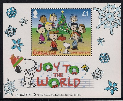 Gibraltar Charlie Brown Snoopy, Peanuts Joy to The World Christmas Collectible Postage Stamp