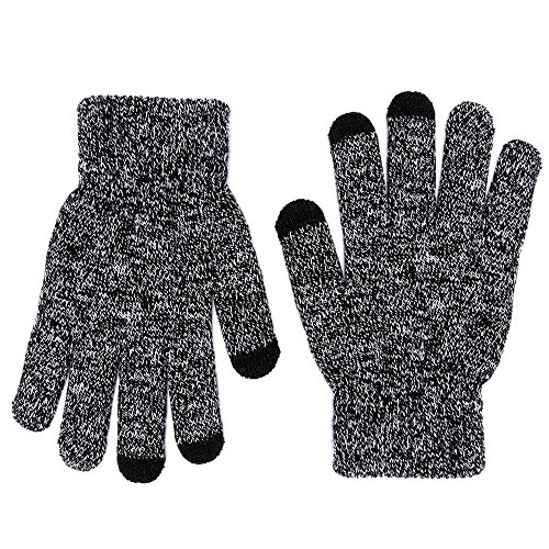 MPHABON Touch screen gloves winter men and women knitted warm gloves (Black and white)