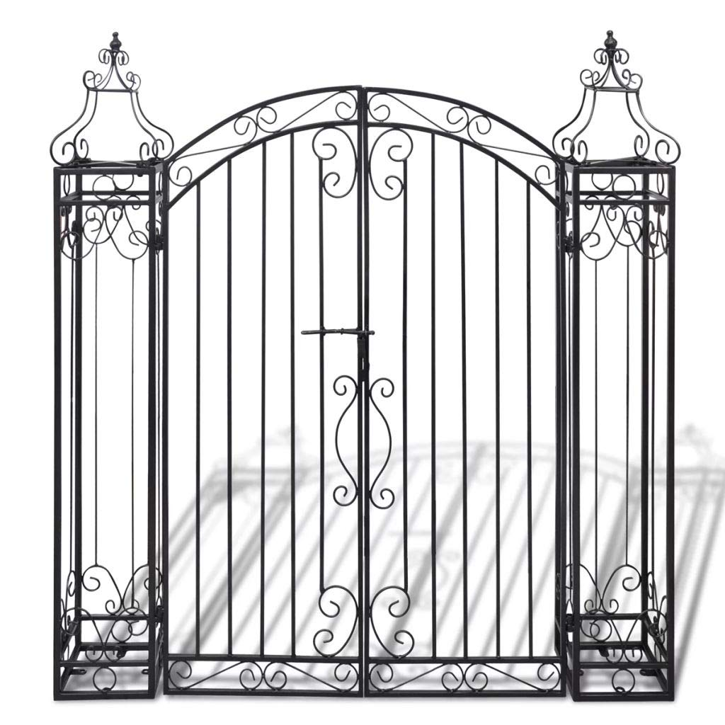 Tidyard Outdoor Patio Garden Arbor with Gate Wrought Iron 4' x 8'' x 4' 5''
