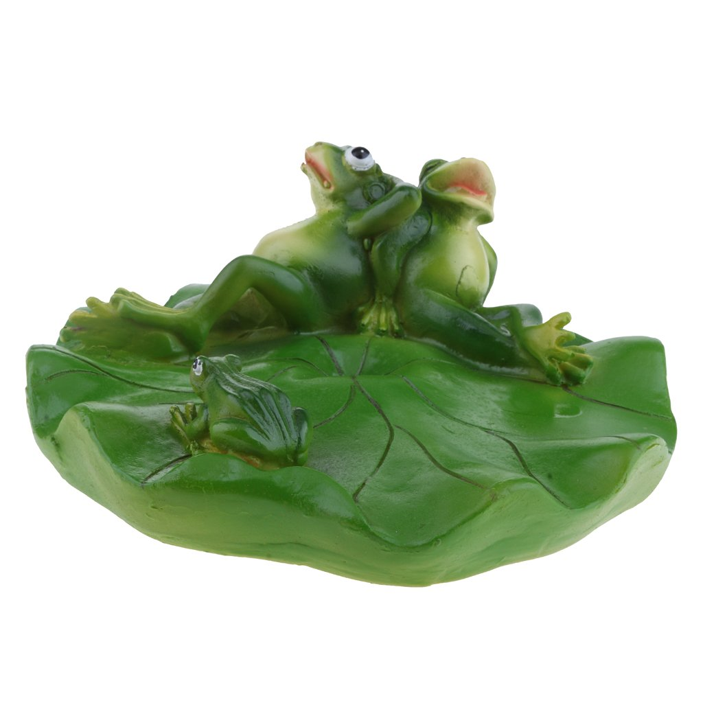 D DOLITY VARIOUS Creative Animal Ornament Water Floating Frog on Lotus Leaf Figurine Resin Green Plants Kid Toys Fountain Decoration Garden Decor - Family, as described