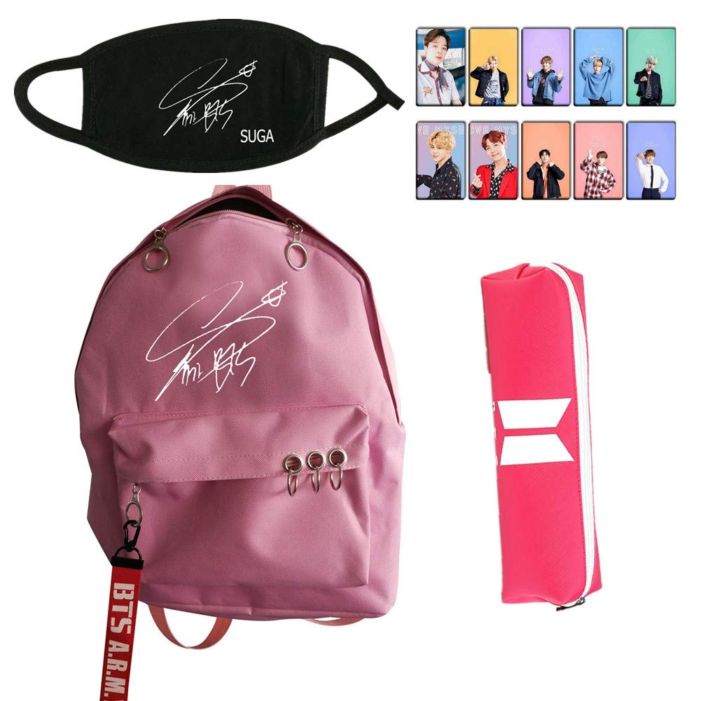 Youyouchard BTS Bangtan Boys Stationery Series Pink Cool - BTS Waterproof Backpack + BTS Signature Mask + BTS Bag + BTS photocard Sticker - Start Your Cool Travel(SUGA)