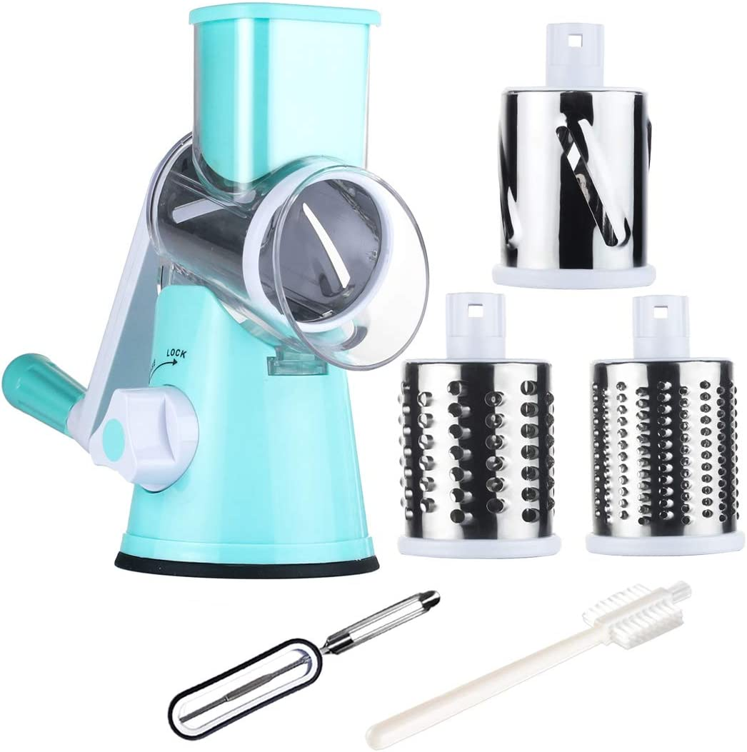 Tevokon Cheese Grater Rotary Vegetable Slicer Nuts Grinder Cheese Shredder Mandoline with 3 Blades Peeler Kitchenware Cooking Tool Blue