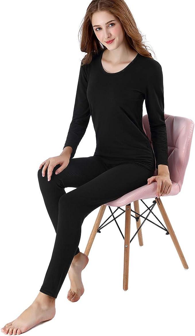 Intima Termica Sportiva Zueauns Donna Set Termico T-Shirt Maniche Lunghe /& Pantaloni Invernali