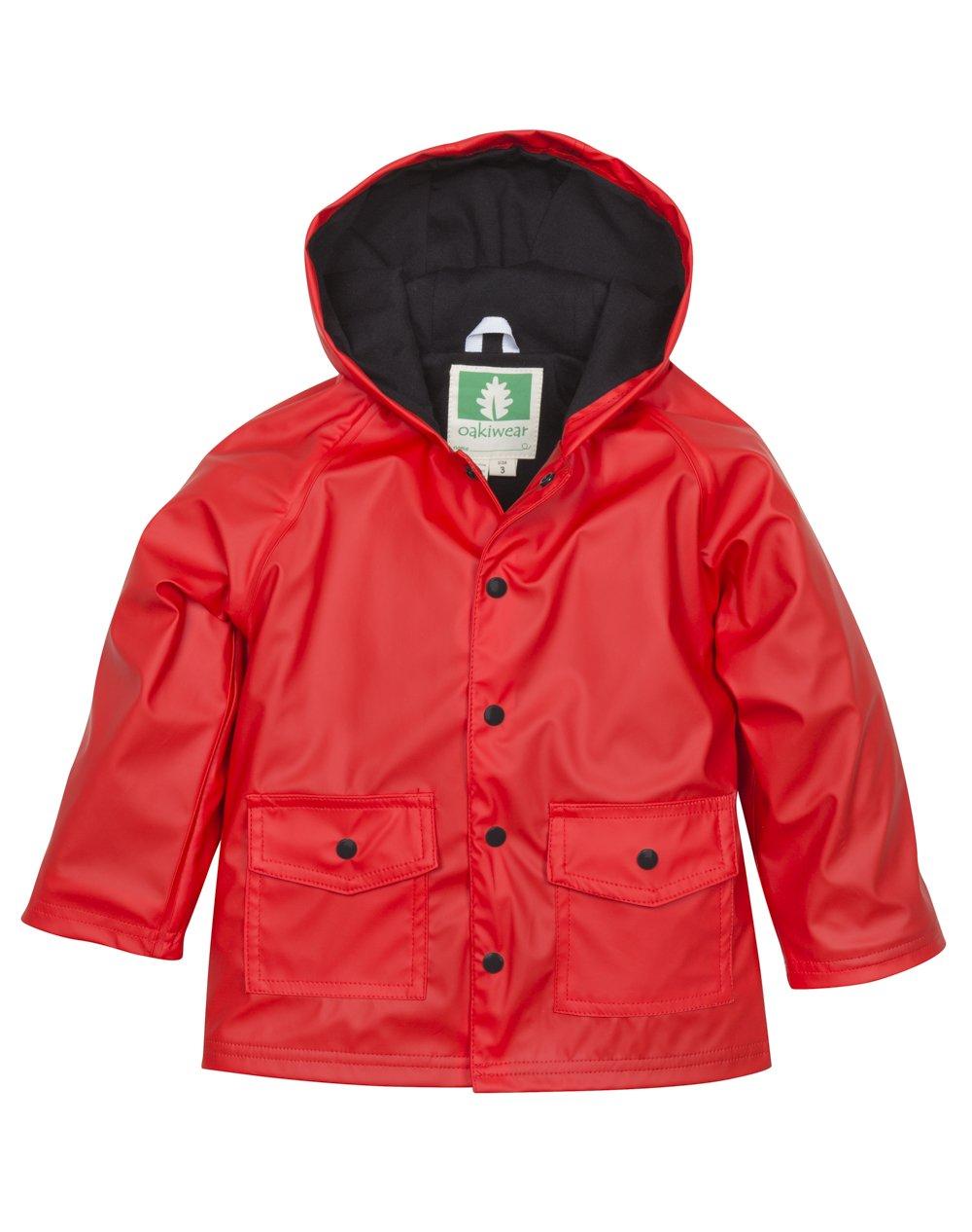 OAKI Children's Rain Jacket, Red/Black 4T Toddler