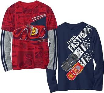 Disney Cars - Camiseta de manga larga multicolor para niños, 2 unidades
