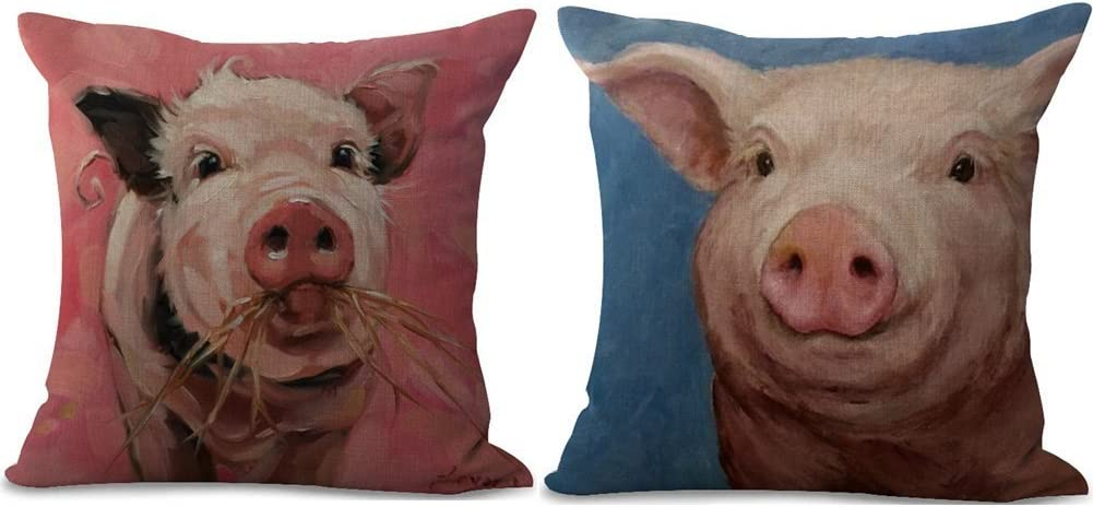 Muyankissu 2 Packs Retro Funny Pig Images Painting Modern Chair Seat Back Cushion Cover Pillow Covers 18X18 Inch Cotton Linen Throw Pillow Case Square Pillowslip for Home Bed Sofa Couch Decor