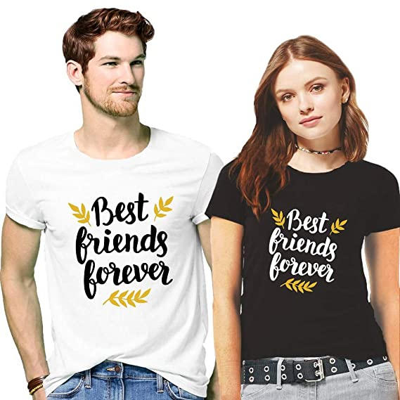 506e4369af Hangout Hub Men's and Women's Couple's Cotton Best Friend Forever Printed  T-Shirt Valentine Matching