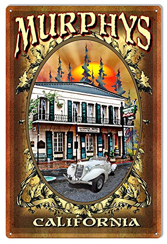 """Reproduction Historic Murphy's California Hotel Metal Sign 12""""x18"""" by Phil Hamilton"""