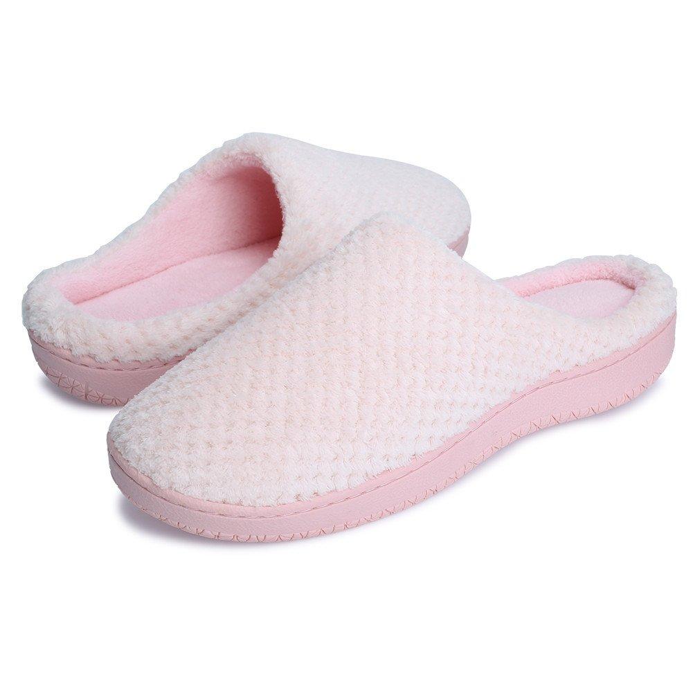 JIASUQI Women's Winter Fur House Slippers Indoor Shoes Light Pink US 7.5-8.5 Women, 6-7 Men by JIASUQI (Image #1)
