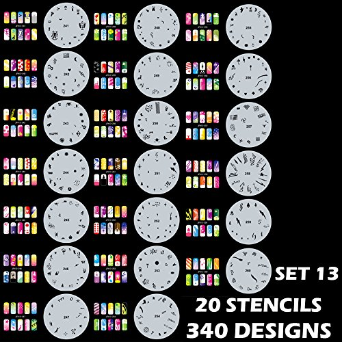 Custom Body Art Airbrush Nail Stencils - Design Series Set # 13 Includes 20 Individual Nail Templates with 17 Designs each for a total of 340 Designs of Series #13