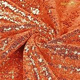 ShinyBeauty Xmas Sparkly Decoration 3 Feet 1 Yard Sequin Fabric-Orange